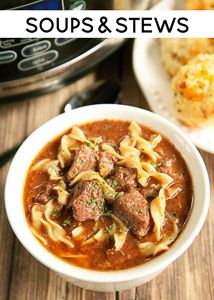 Slow Cooker Steak Soup - sirloin roast, beef broth, onion soup mix, tomato paste, Worcestershire sauce and egg noodles. Cooks all day in the crockpot - even the noodles. Serve with some crusty bread for an easy weeknight meal! Slow Cooker Steak, Crock Pot Slow Cooker, Slow Cooker Recipes, Beef Recipes, Soup Recipes, Dinner Recipes, Cooking Recipes, Crockpot Meals, Freezer Meals