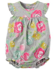 Carter's Baby Girls' Floral-Print Romper - Baby Girl (0-24 months) - Kids & Baby - Macy's
