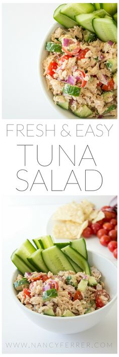 Fresh and Easy Tuna Salad Recipe | http://nancyferrer.com/fresh-tuna-salad-recipe/  (paleo, primal, low carb, keto, real food)