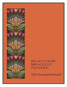 For sale is the Bead Loom Folk Art Flowers Motif 1 Bracelet Pattern in PDF format.  For this design I used Miyuki Delica seed beads in size 11.