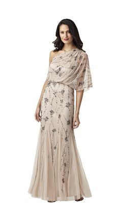 Style#: 091860320          Colors: Nude, Silver          Description: Long One Shoulder Blouson Dress                    Sizes: M (2-16)