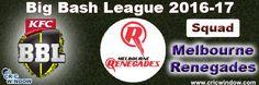 Big Bash League Melbourne Renegades Squad http://www.cricwindow.com/big-bash-league-2016-2017/melbourne-renegades-squad.html