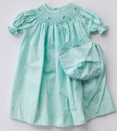 Smocked Baby Dress in Blue Green by Mom N Me
