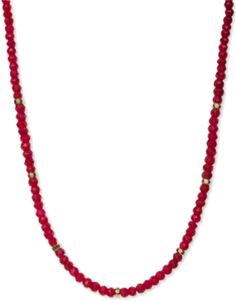 Go bright! This lovely strand necklace features faceted, dyed red aventurine roundel beads with a 14k gold over sterling silver clasp and beaded accents.