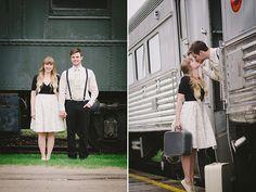 Vintage Train Engagement Session | Glamour & Grace