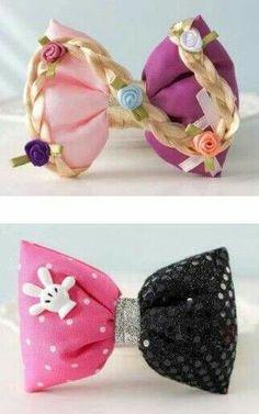 Rapunzel and Minnie Mouse Bows Disney Hair Bows, Kids Hair Bows, Girls Bows, Hair Ribbons, Ribbon Hair, Ribbon Bows, Broches Disney, Diy Headband, Headbands