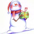 Free Printable Christmas Cards: Christmas Snowman by Greetings Island