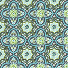 Metre Cotton  Blend - Turkish Delight Grandeur Tile Blue - Per Metre ebay uk seller: plush.addict shop Plush Addict Ltd Fabric £13.50 per metre Maybe for the table and a blind or cushion or mix of all?