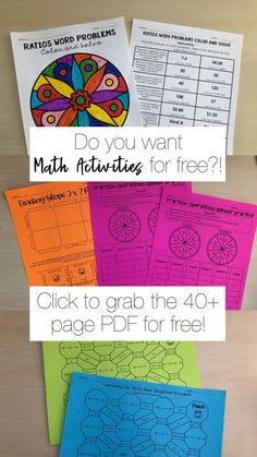 Free low prep math activities- just print and go. Topics include: Solving equations, ratio word problems, fraction operations, combining like terms, slope and exponents Operations With Fractions, Order Of Operations, Math Resources, Math Activities, Combining Like Terms, Solving Equations, 7th Grade Math, Math Word Problems, Free Math