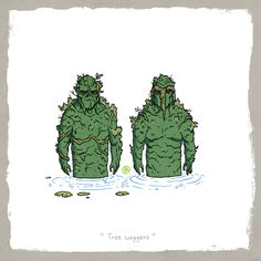 """Marvel and DC Super Friends - """"Tree Huggers"""" - Swamp Thing and Man-Thing Comic Book Characters, Marvel Characters, Comic Books Art, Marvel Vs Dc Comics, Marvel Heroes, Marvel Man, Marvel And Dc Crossover, Arte Nerd, Cute Comics"""