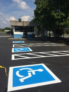 Handicap stalls added to Parking lot in Sevierville Tennessee 865-680-9225 aaastripepro@gmail.com Seal coating asphalt repair parking lot striping