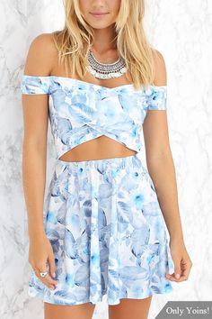 Off The Shoulder Wrap Front Floral Print Cut Out Mini Dress - US$21.95 -YOINS