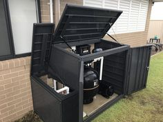 Inspiring solutions that we have a weakness for! Pool Equipment Enclosure, Pool Equipment Cover, Decks Around Pools, Landscaping Around Pool, Pool Pumps And Filters, Pool Filters, Above Ground Pool Pumps, In Ground Pools, Swimming Pools Backyard