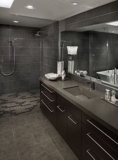 Great Grey Colored for Masculine Bathroom Interior Sets Design