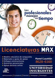 """#ComunidadUIN """"Nuevas licenciaturas #MAX Plantel Cuautitlán""""."""