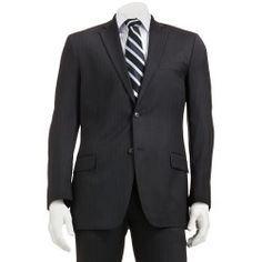 Marc Anthony Slim-Fit Pin-Striped Wool Black Suit Jacket - Men - product - Product Review