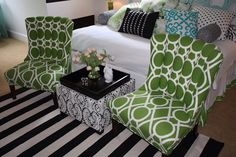 A striped rug from HomeGoods adds a graphic punch to this tween bedroom. Sponsored by Happy by Design.