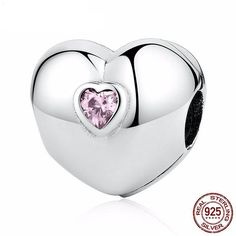Smooth silver heart clip with pink crystal heart 925 Sterling Silver Fit Pandora European bracelets Pandora beads Pandora charms necklace Silver Bracelets, Beaded Bracelets, Pandora Bracelets, Silver Jewelry, Silver Ring, Silver Earrings, Pandora Beads, Necklaces, Pandora Charms