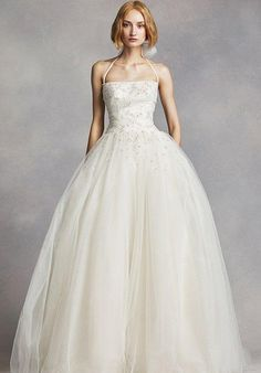 Draped tulle halter ball gown with back bow detail and scattered crystals and pearls | White by Vera Wang | https://www.theknot.com/fashion/white-by-vera-wang-style-vw351277-white-by-vera-wang-wedding-dress
