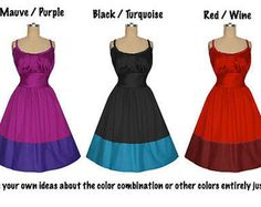 Flattering1950s Vintage Style Pin Up Bombshell Dress... your Colors...your Measurements...