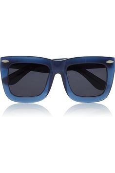 Grey Ant Status Square Frame Acetate Sunglasses, $275 at Net-A-Porter. These oversize blue frames may seem a bit daunting, but pair them with a simple striped T-shirt and light washed jeans for a polished look.
