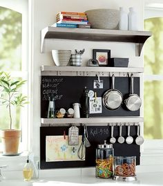 small kitchen storage furniture - love the idea of a chalkboard as it doubles as a magnetic holder