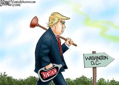 Donald Trump is heading to Washington D.C. to clean things up, or as some would say, drain the swamp. Cartoon by A.F. Branco ©2016.