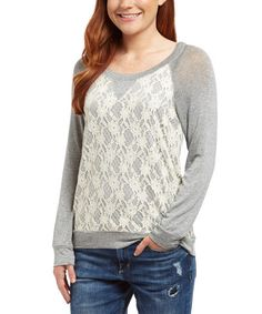 This Heather Gray Lace-Front Raglan Tee is perfect! #zulilyfinds