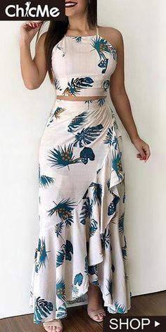 Chic Me: Women's Fashion Online Shopping Casual Dresses, Fashion Dresses, Floral Dresses, Trend Fashion, Fashion Top, Fashion Women, Style Fashion, Two Piece Dress, Ruffle Skirt