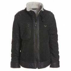 Armani Junior Boys Leather Jacket With Faux-Fleece Lining  at Childrensalon.com