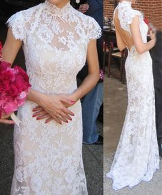 Illusion High Collar Column Lace Wedding Dress with Open High Neck Lace Mermaid Wedding Dresses ,Plus Size Bridal Gowns ,Custom Made China Wedding Dress Formal Dresses For Weddings, Wedding Dresses Plus Size, Sexy Wedding Dresses, Bridal Dresses, Wedding Gowns, Backless Wedding, Ao Dai Wedding, Ivory Wedding, Formal Gowns