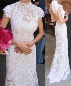 Custom make! 2012 wedding formal dress fashion bag cheongsam style vintage lace fish tail racerback train advanced $165.26