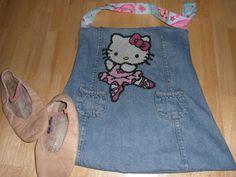 DIY Ballett-Tasche mit Hello Kitty Stickerei (Jeansstoff war vorher ein Kleid)
