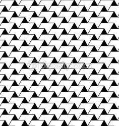 Black and white geometric seamless pattern with zigzag line and — Illustration #55421565
