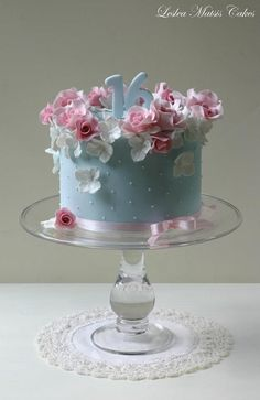 Image result for blue hydrangea birthday cake photos