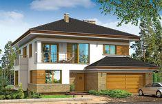 FAJNY Projekt domu piętrowego Opal o pow. 181,39 m2 z obszernym garażem, z dachem namiotowym, z tarasem, z wykuszem, sprawdź! Luxury House Plans, Plan Design, Home Fashion, Bungalow, Acre, Gazebo, Opal, Villa, New Homes