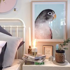 Bedside goals featuring new feathered friends from @monmelbourne