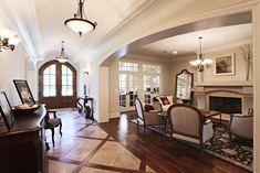 Travertine & wood inlay panels run the length of the entry chiseled travertine floor Foyer Flooring, Living Room Flooring, Flooring Ideas, Floor Design, House Design, Buy Tile, Wood Look Tile, Floor Patterns, Great Rooms