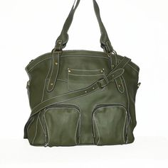 Olive Green Leather Handbag Leather Tote Shoulder by ChicLeather
