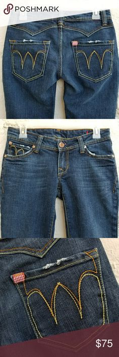 """{Farmer Industry} """"Western Cinema"""" bootcut jeans. SEE MEASUREMENTS.  An amazing brand that, alas, stopped production in 2009. They were known for sourcing the finest quality deadstock denim and creating designs reminiscent of western far. Made in Los Angeles, this pair is from 2008. 98% cotton/2% stretch. Mid-weight denim. Tagged 27, will fit 25-slim 27. Waist: 14.5"""" flat/29"""" doubled. Rise: front: 7""""/back 11.5"""" Hips: 35"""" at zipper base. Inseam: 32,"""" hemmed professionally, with original…"""