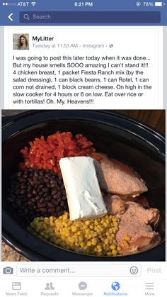 Chicken Crockpot Recipe This Fiesta Chicken crock pot recipe is a simple, easy, and delicious dinner your family is sure to love!This Fiesta Chicken crock pot recipe is a simple, easy, and delicious dinner your family is sure to love! Fiesta Chicken Crockpot Recipe, Recipe Chicken, Crockpot Frozen Chicken, Chicken Crock Pot Meals, Healthy Crock Pot Meals, Crockpot Recipes Mexican, Crackpot Chicken Recipes, Cream Cheese Crockpot Chicken, Crock Pot Dinners
