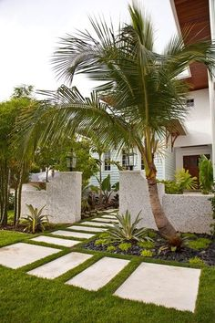 Tropical Entryway Entryways, Steps and Courtyard BORDEN Landscape Architecture Sarasota, FL Courtyard Landscaping, Front Courtyard, Country Landscaping, Tropical Landscaping, Modern Landscaping, Tropical Garden, Front Yard Landscaping, Outdoor Landscaping, Landscaping Ideas