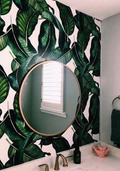 Big Banana Leaf Removable Wallpaper / modern jungle style palm self adhesive wallpaper / botanical temporary wallpaper Palm Leaf Wallpaper, Temporary Wallpaper, Banana Leaves Wallpaper, Tropical Wallpaper, Bts Wallpaper, Bathroom Wallpaper Trends, Apartment Wallpaper, Tropical Bathroom, Interior Decorating