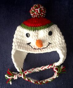 Cute Chunky Snowman Beanie/Hat - To By Katerina Cohee - Free Crochet Pattern - (ravelry) Crochet Kids Hats, Knit Or Crochet, Crochet Crafts, Yarn Crafts, Free Crochet, Crocheted Hats, Yarn Projects, Crochet Projects, Knitting Patterns