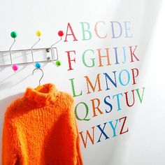 alphabet for around a magnetic chalkboard in the kids play area Childrens Alphabet, Alphabet Wall, Childrens Rooms, Home Design, Letter Decals, Magnetic Chalkboard, Skirting Boards, Kids Play Area, Bright