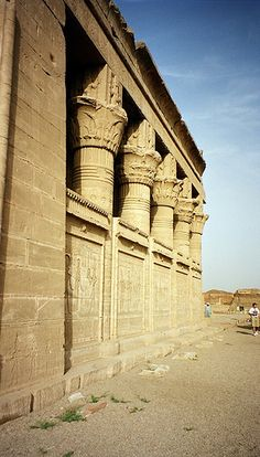 "Temple of Hathor Dendera, Egypt. ""Intricate carvings and stonework provide a neutral and minimal colour palette with complex shapes and patterns"""
