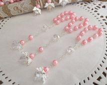 PC 25 bautismo rosado favores favores de comunión / recuerdos para bautizo rosarios de dedo / bautizo favores / perlas cristal