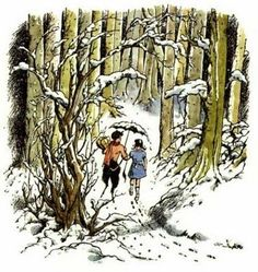 One of my favorite illustrations of all time, by Pauline Baynes. Mr. Tumnus and Lucy from The Lion, the Witch, and the Wardrobe.