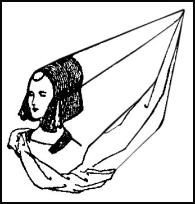 By late in the Middle Ages, especially after the twelfth century, women's headwear became very elaborate. One of the most dramatic headdresses was the steeple headdress, which was shaped like a tall dunce cap and adorned with a veil