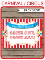 """Carnival Party Backdrop Sign – """"Come One, Come All"""" – colorful"""